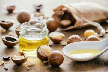 Macadamia Nüssen und Öl